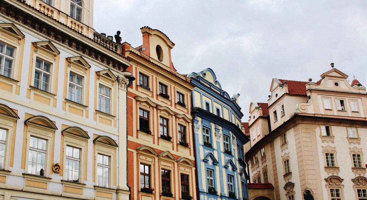 Old Town Square colorful buildings in Prague