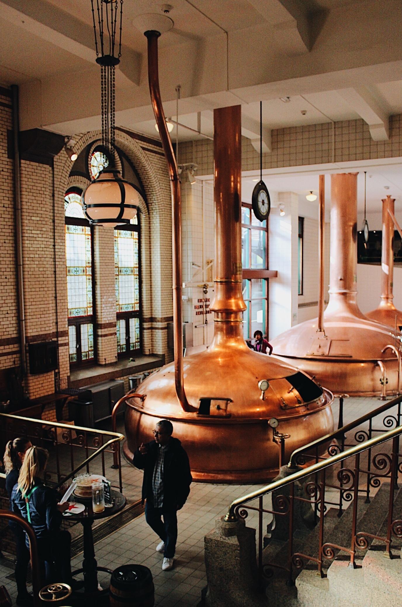 Inside of the Heineken Factory during your weekend in Amsterdam