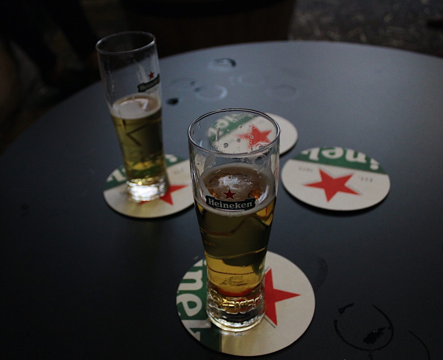 Trying Heineken beer after the tour in Amsterdam