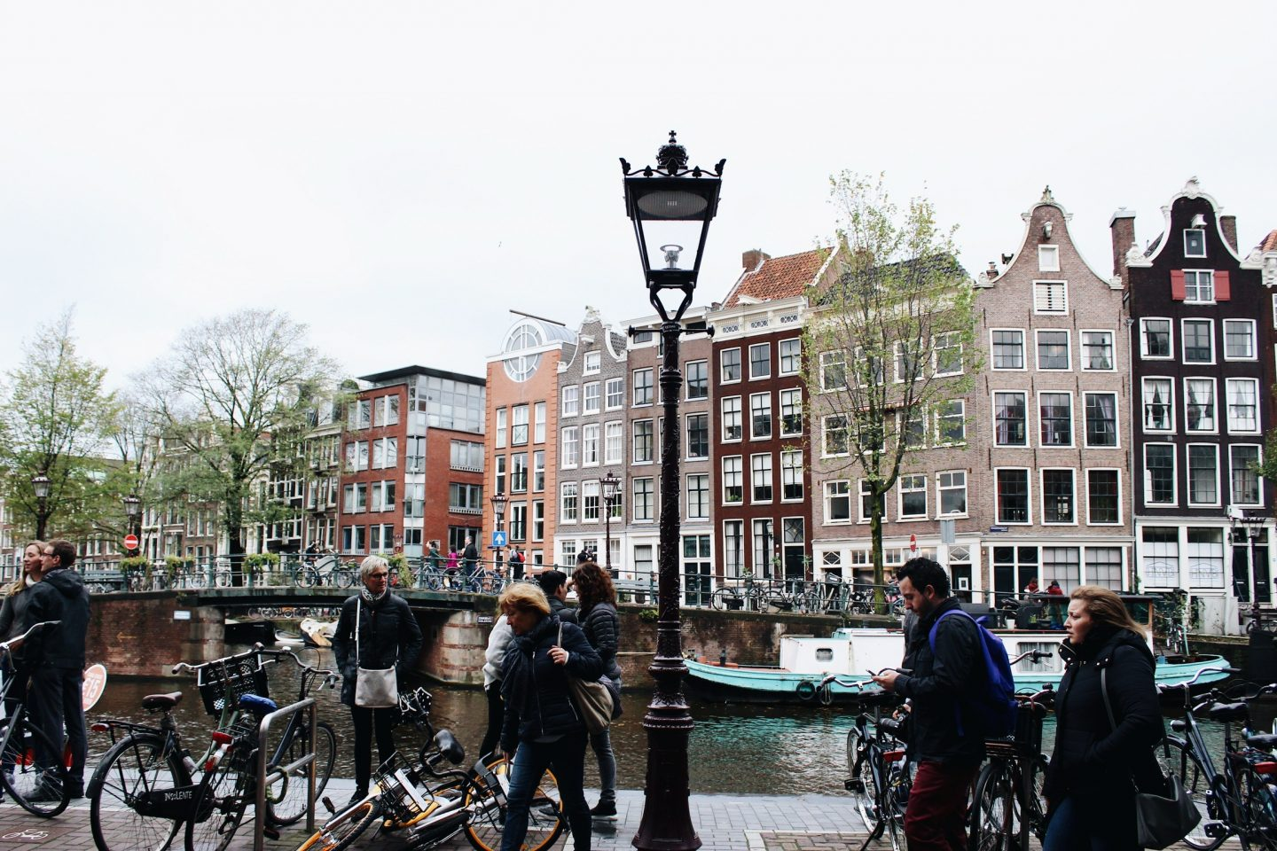 The colorful row houses and canals of Amsterdam