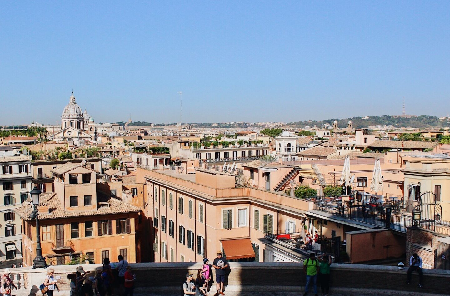 View of Rome in one day from the top of the Spanish Stairs
