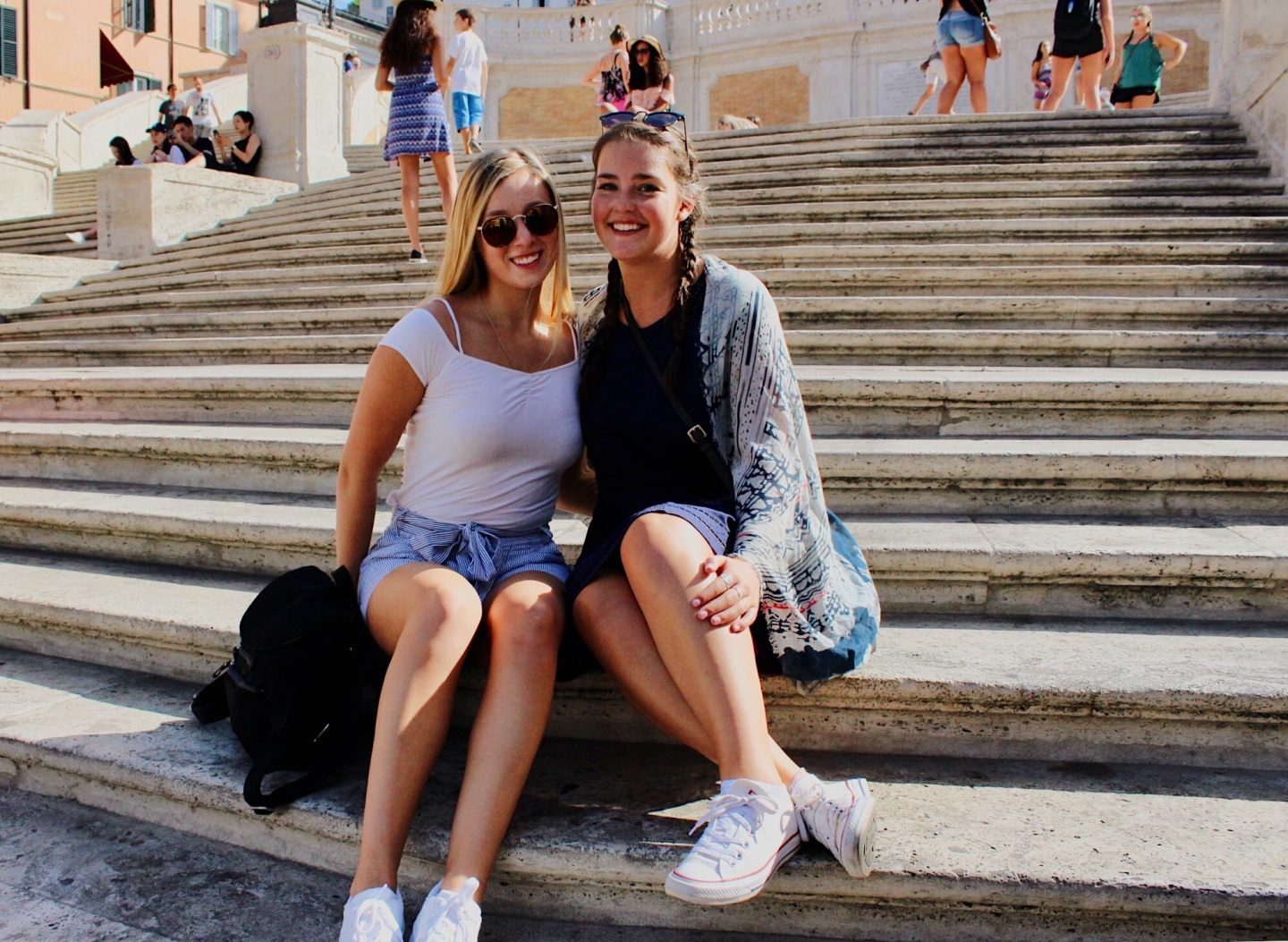 Sitting on the Spanish stairs during our one day in Rome