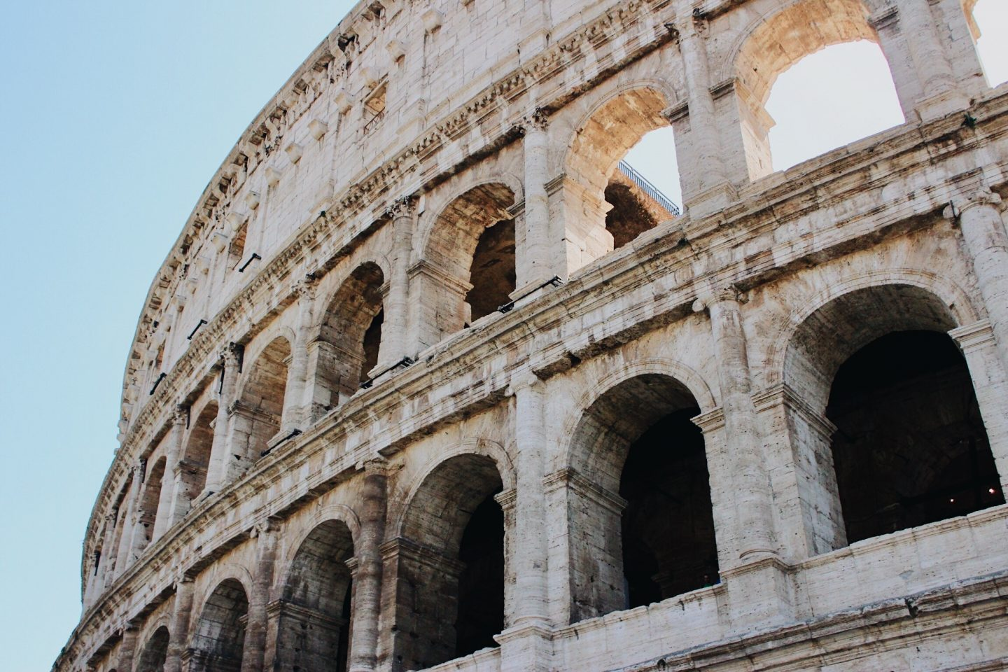 Photo of the Colosseum's exterior during one day in Rome