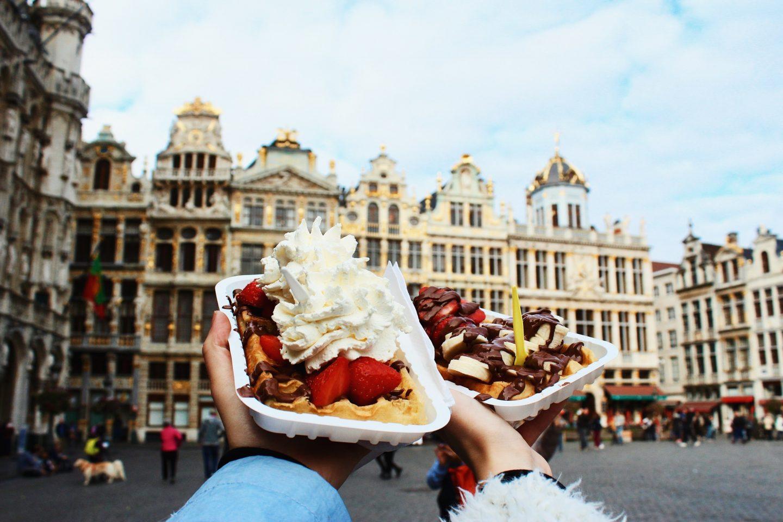 Eating Belgian waffles in Brussels, Belgium