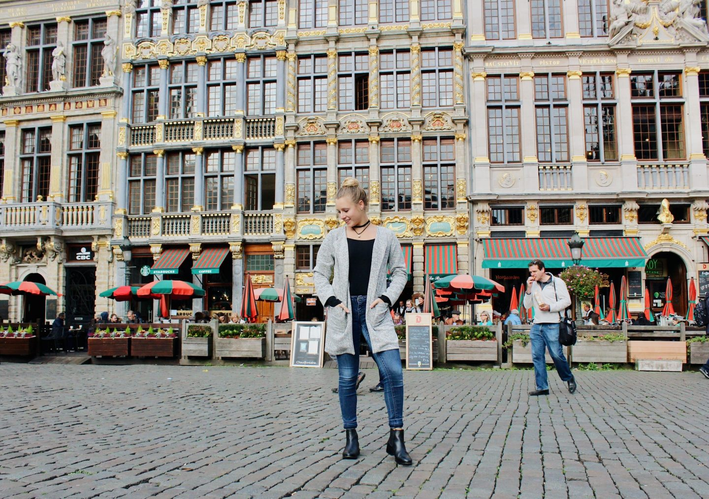 Posing in Brussels' main square