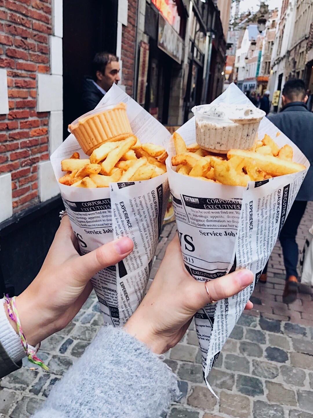Eating fries in Brussels, Belgium