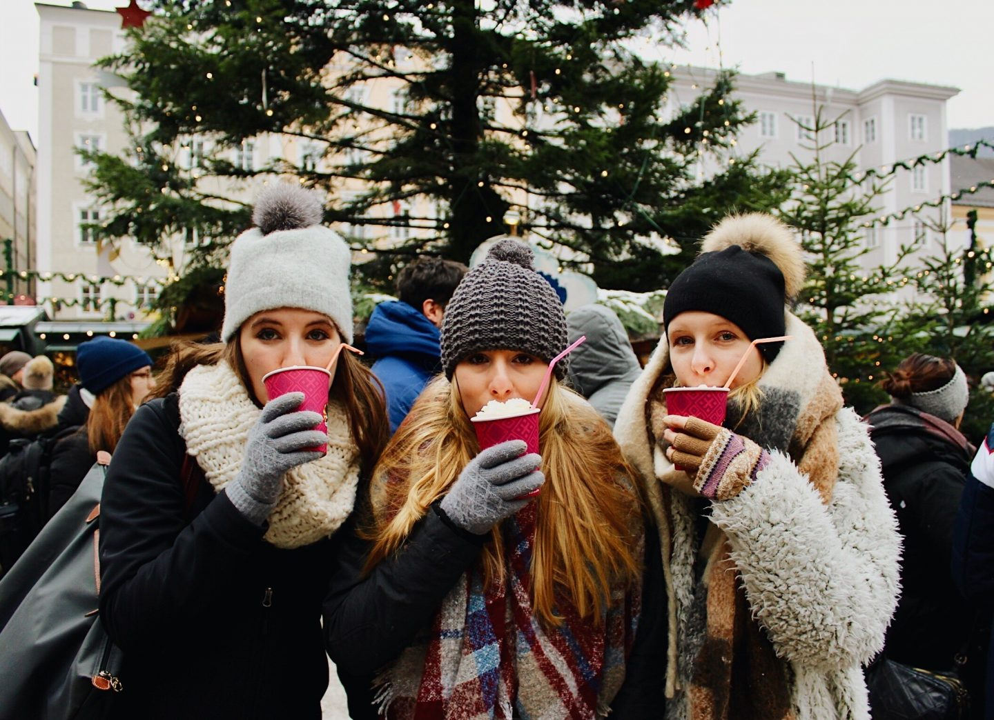 Drinking hot chocolate at a Christmas market in Salzburg, Austria