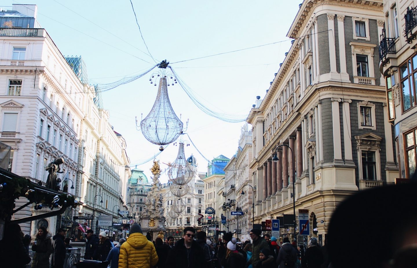 The main street in Vienna, Austria all decorated for Christmas