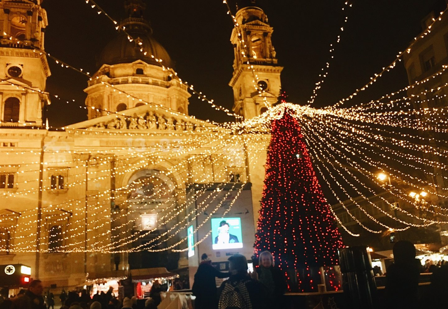 St. Stephen's Basilica all decorated for Christmas in Budapest, Hungary