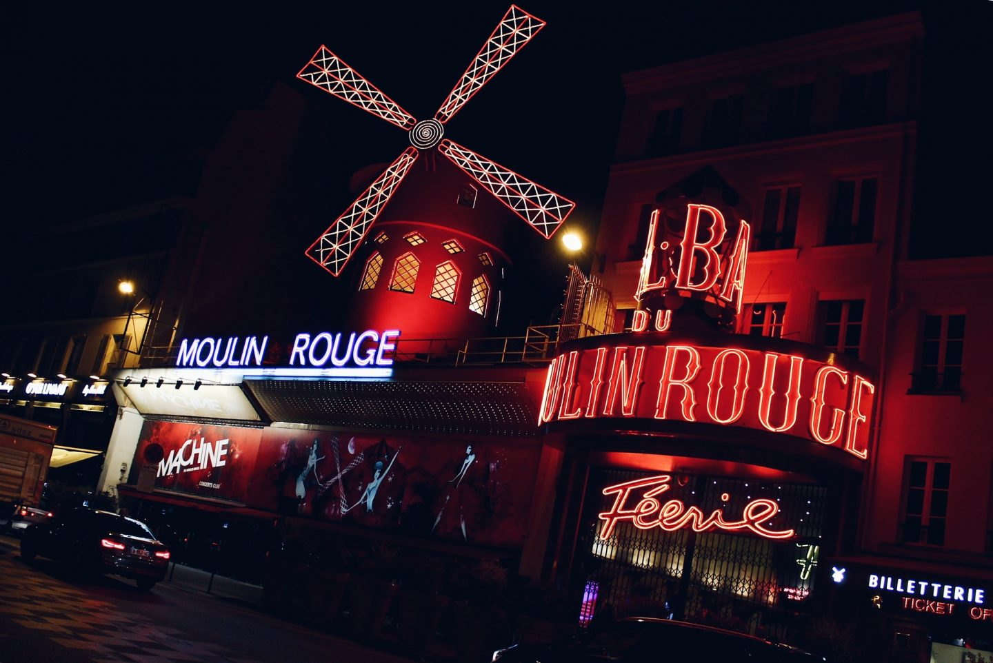 Visiting the Moulin Rouge theater during a weekend in Paris, France