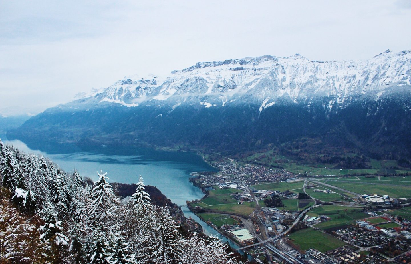 The view from the top of Harderkulm Mountain in Interlaken, Switzerland