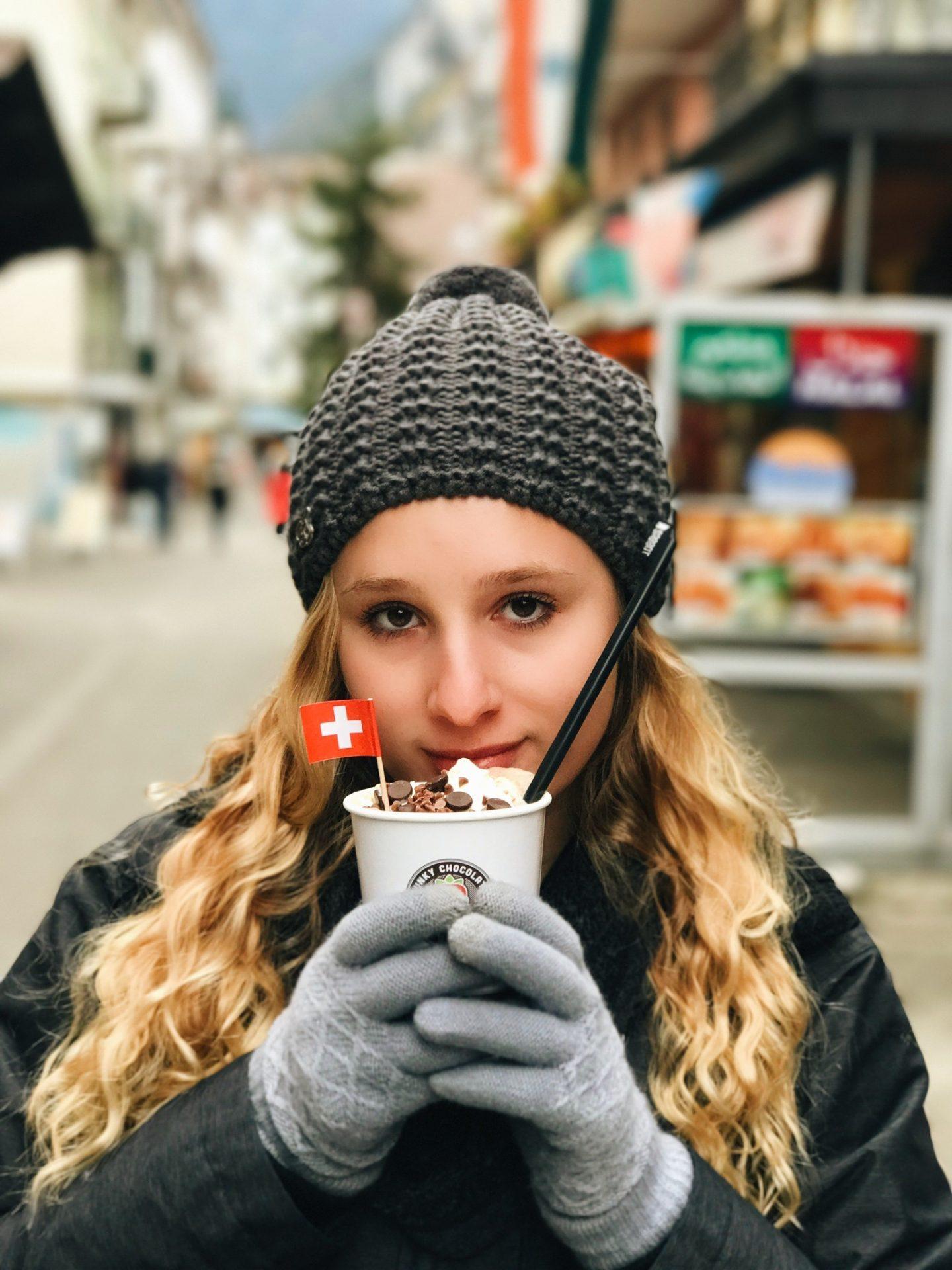 Drinking the BEST Swiss hot chocolate in Interlaken, Switzerland
