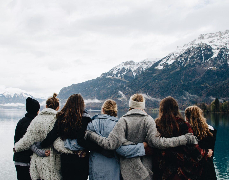 Posing in front of Lake Brienz in Interlaken, Switzerland