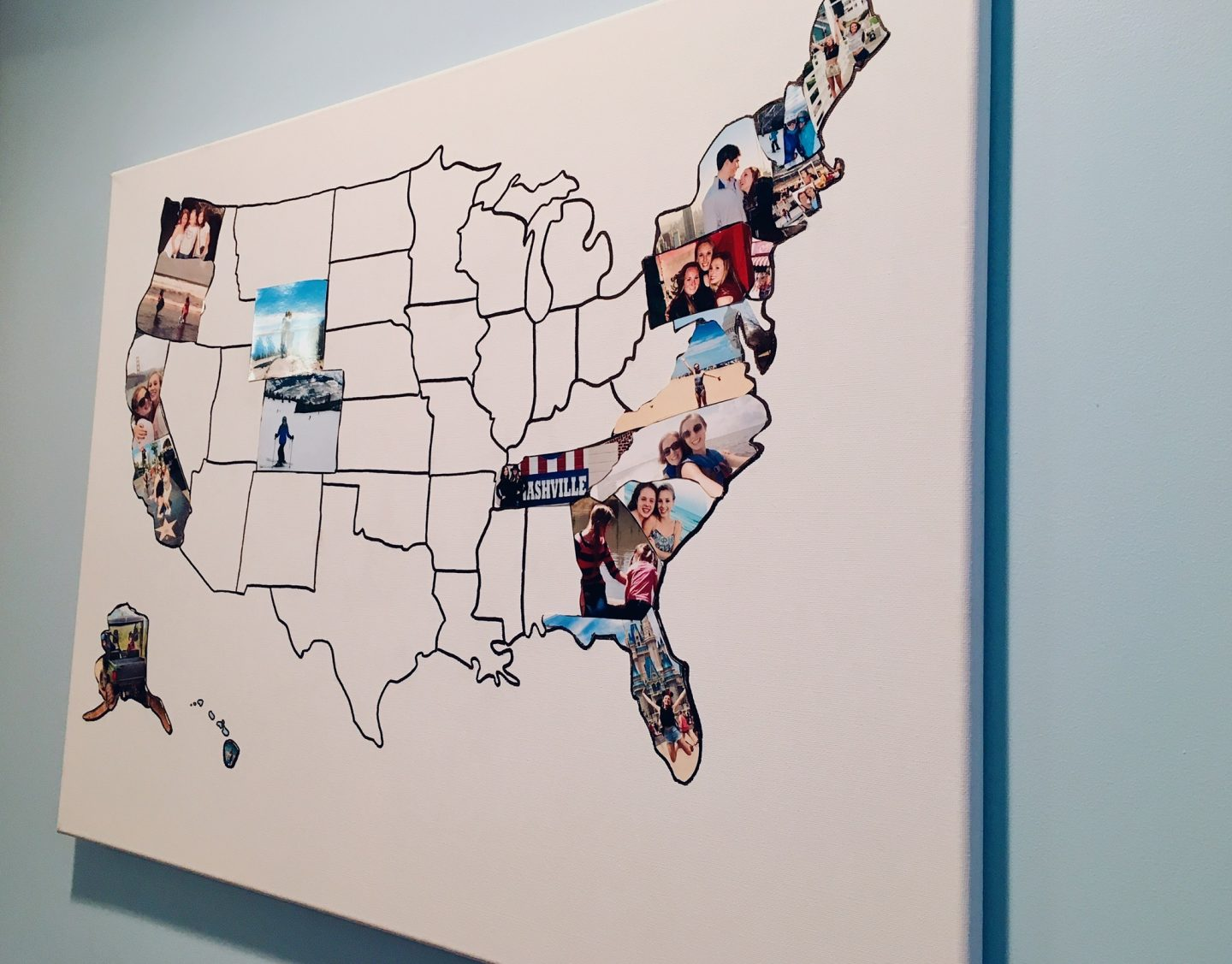 A map of the USA with photos in the states that I've visited
