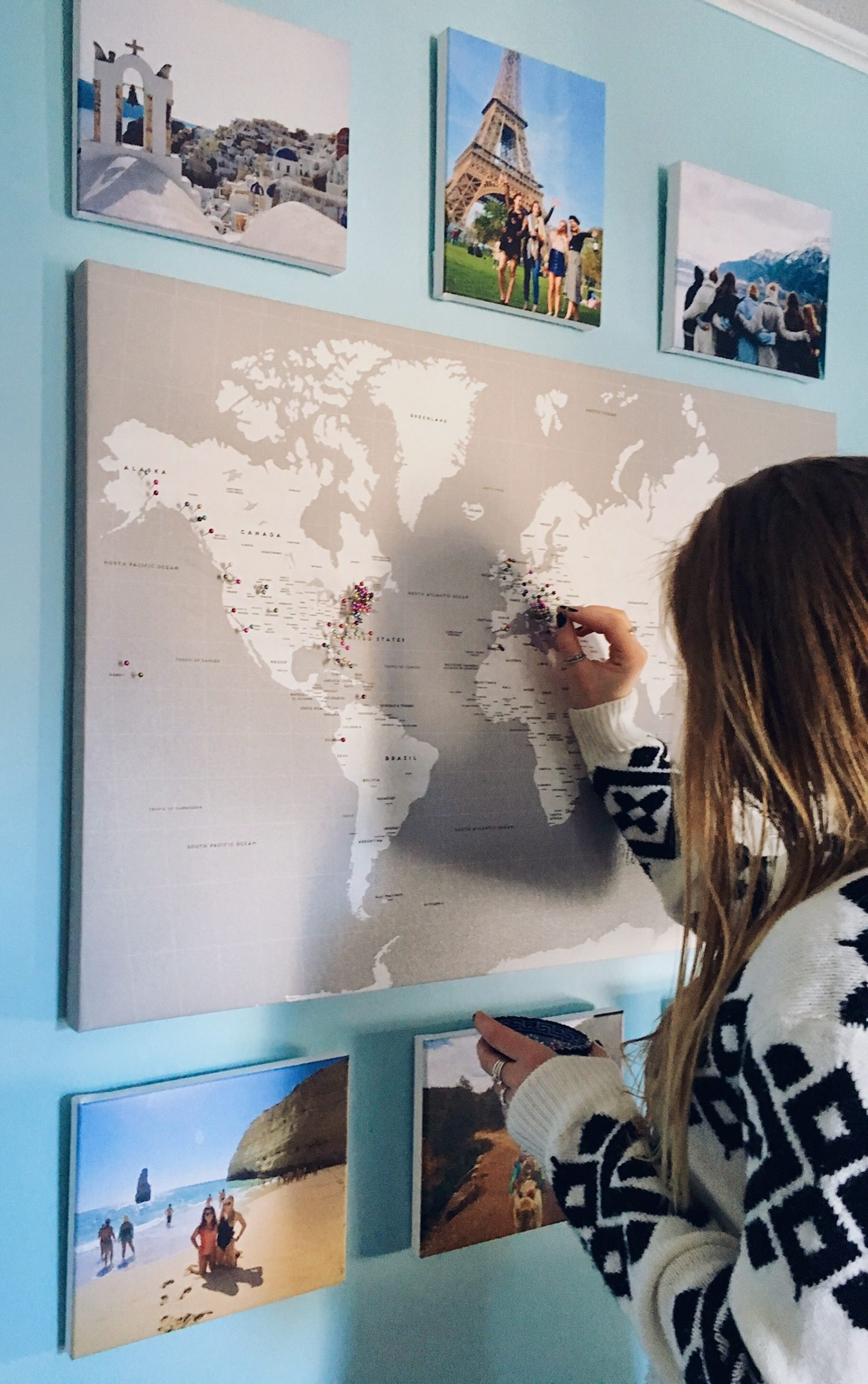 The world map hanging in my room   Gifts for travel lovers