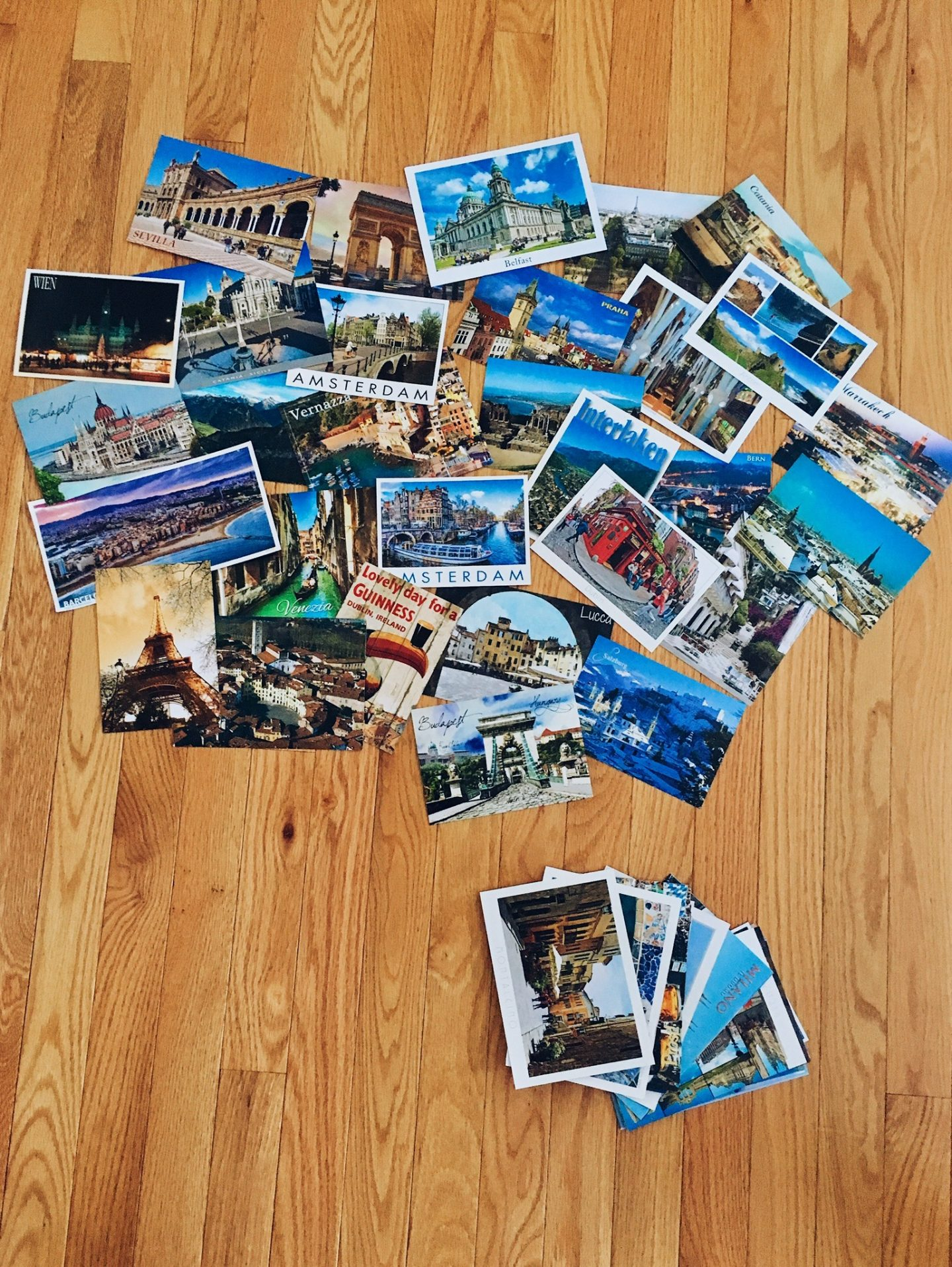 My full postcard collection after studying abroad