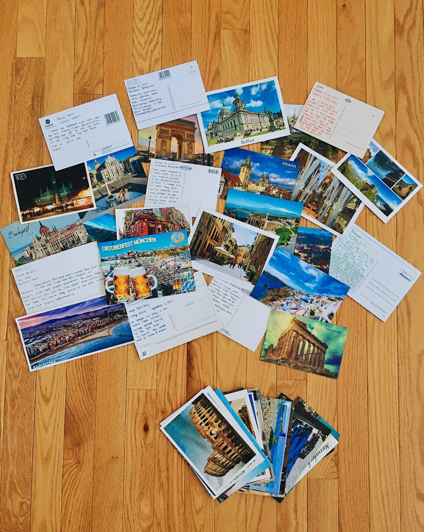 My postcards with handwritten messages on the back after a semester abroad in Florence