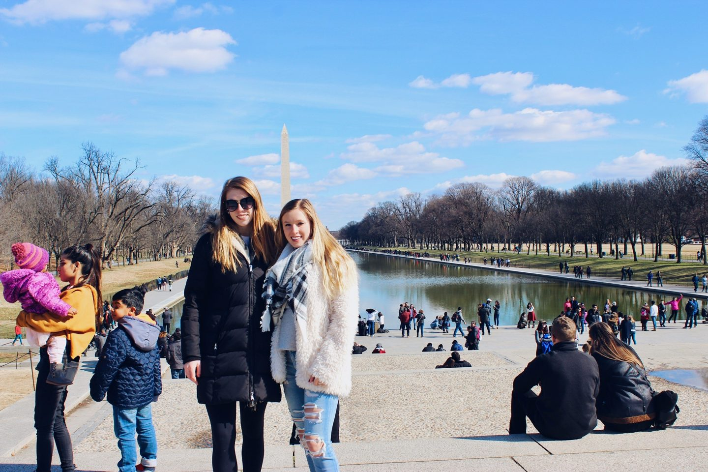 Posing in front of the Lincoln Memorial in Washington DC