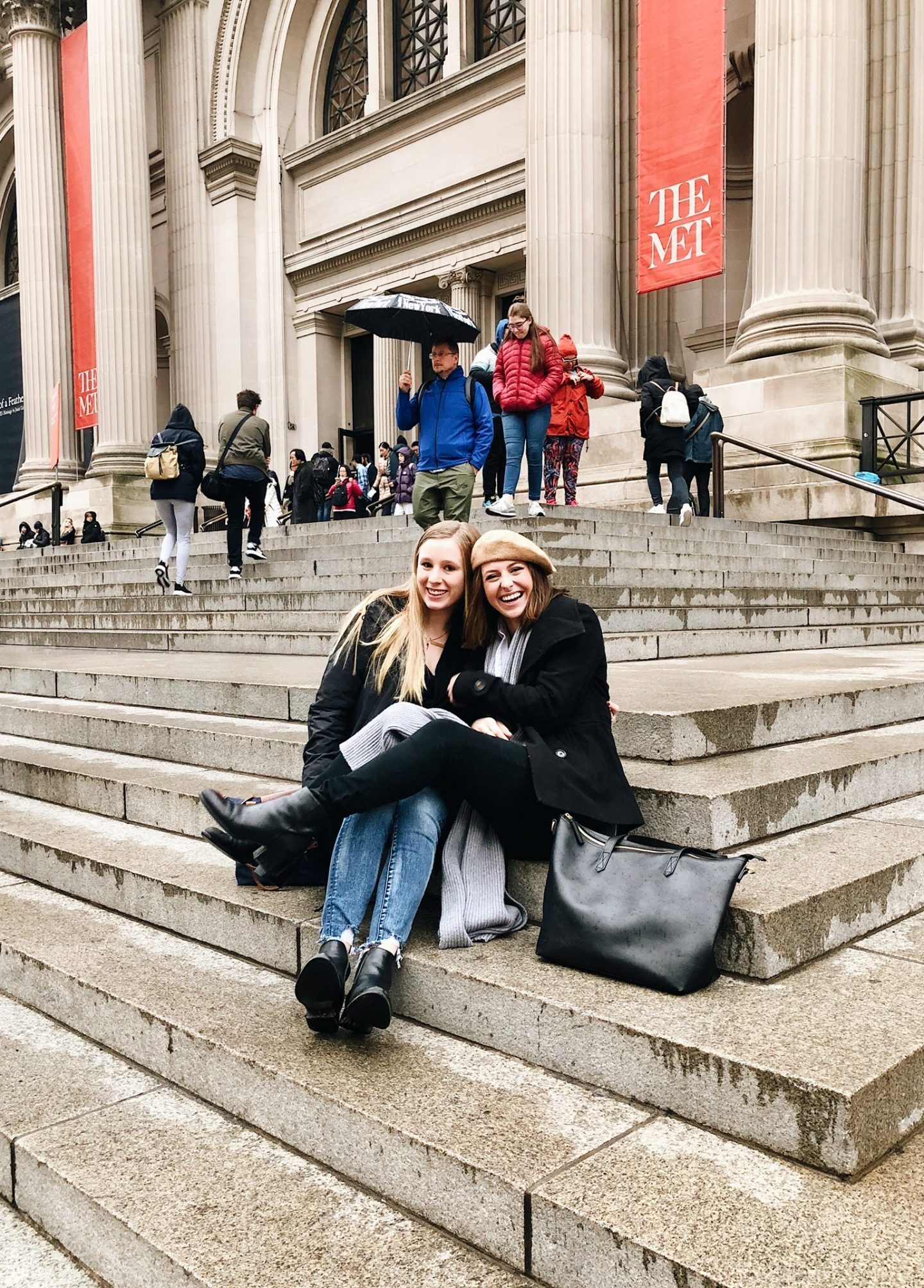 Sitting on the MET stairs in New York City!
