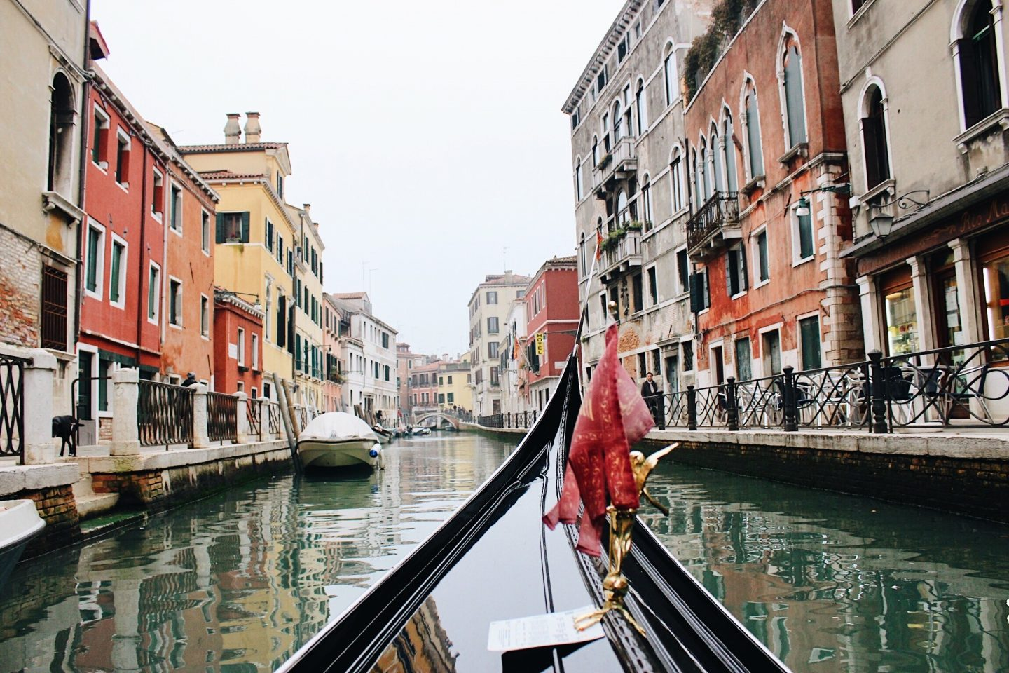 Photo from a gondola in the Venice, Italy canals
