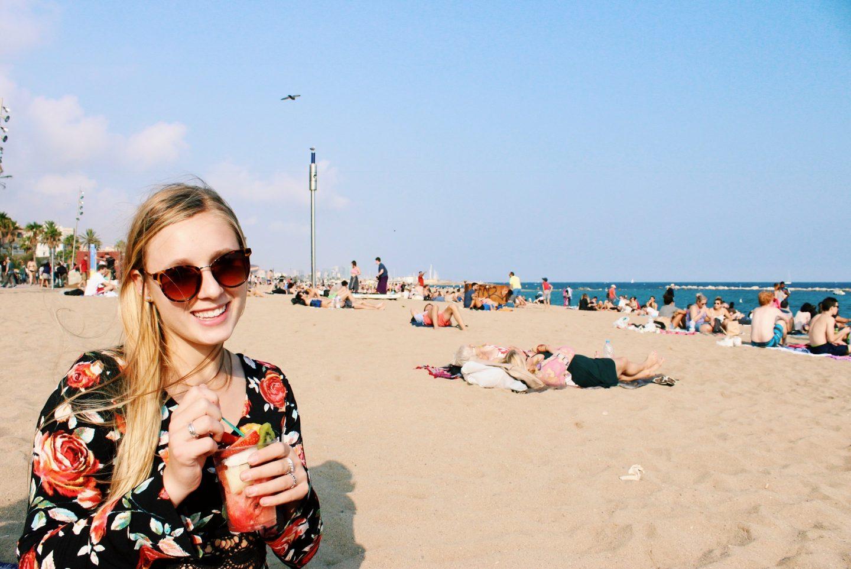 Eating fresh fruit on Barcelona beach!