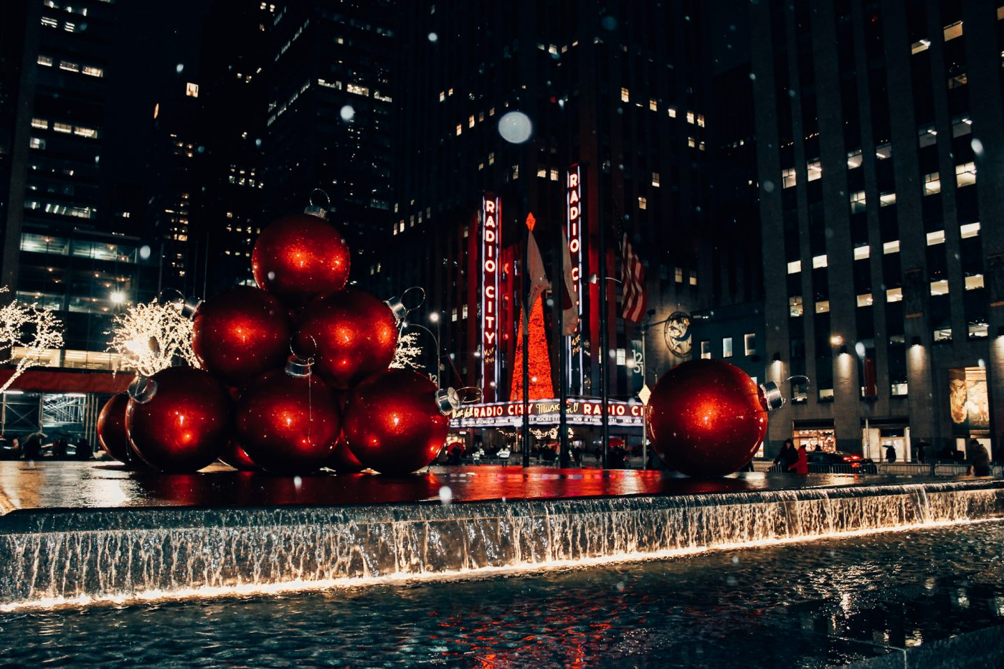 Radio City Music Hall decorated for the holidays in December!