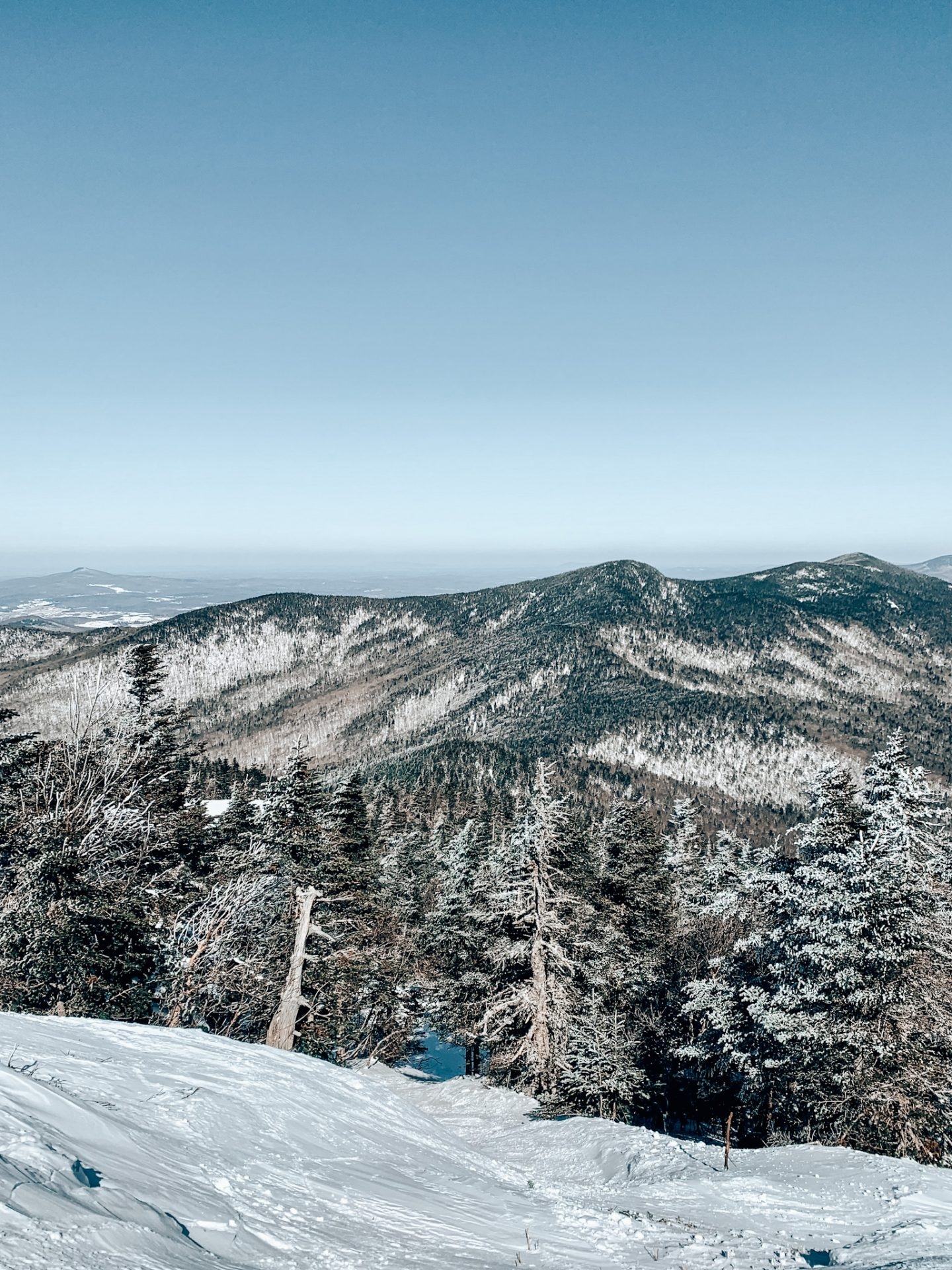 View of mountain from one of the best ski resorts in New England