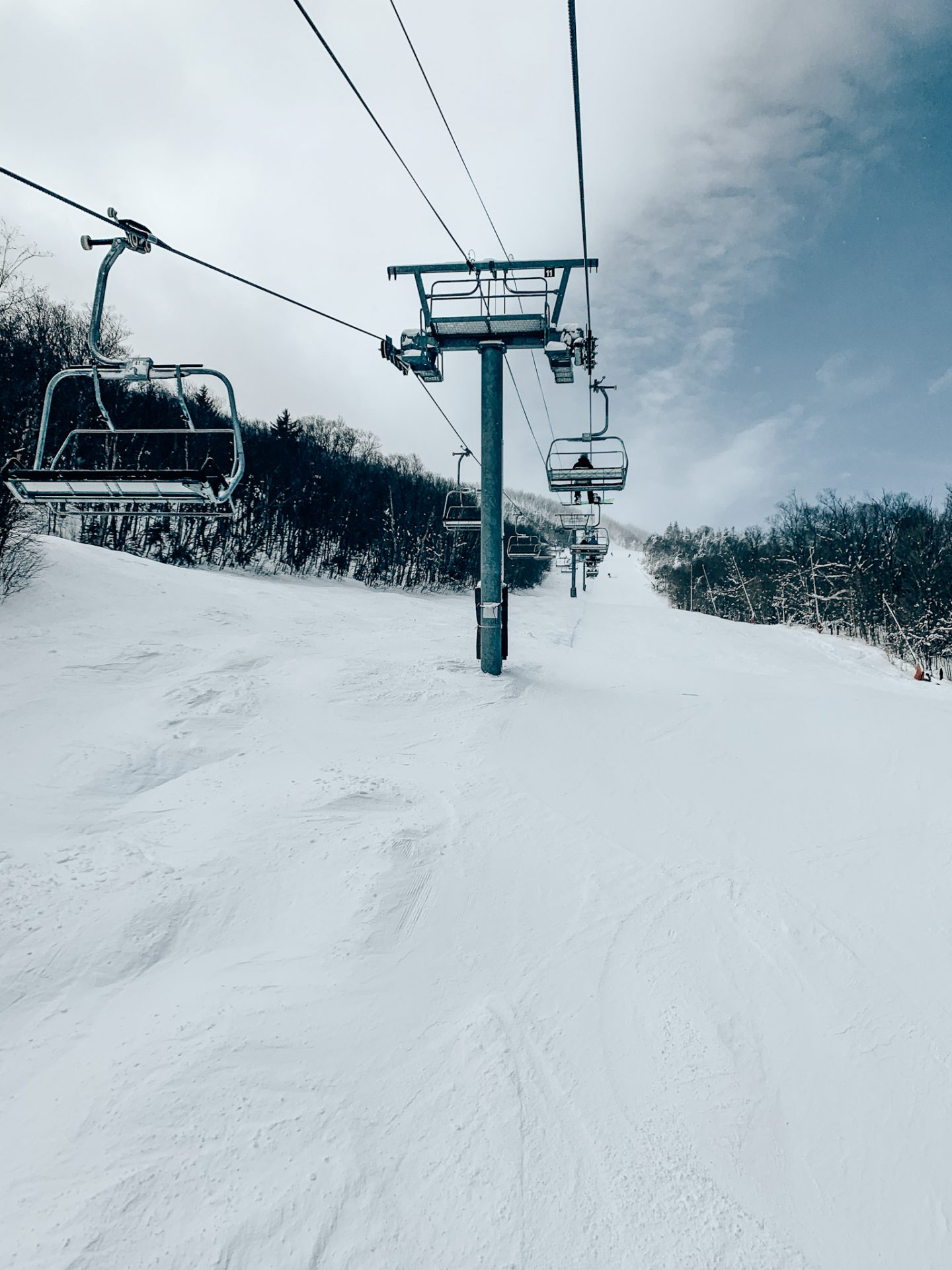 Photo of a chair lift at a ski mountain
