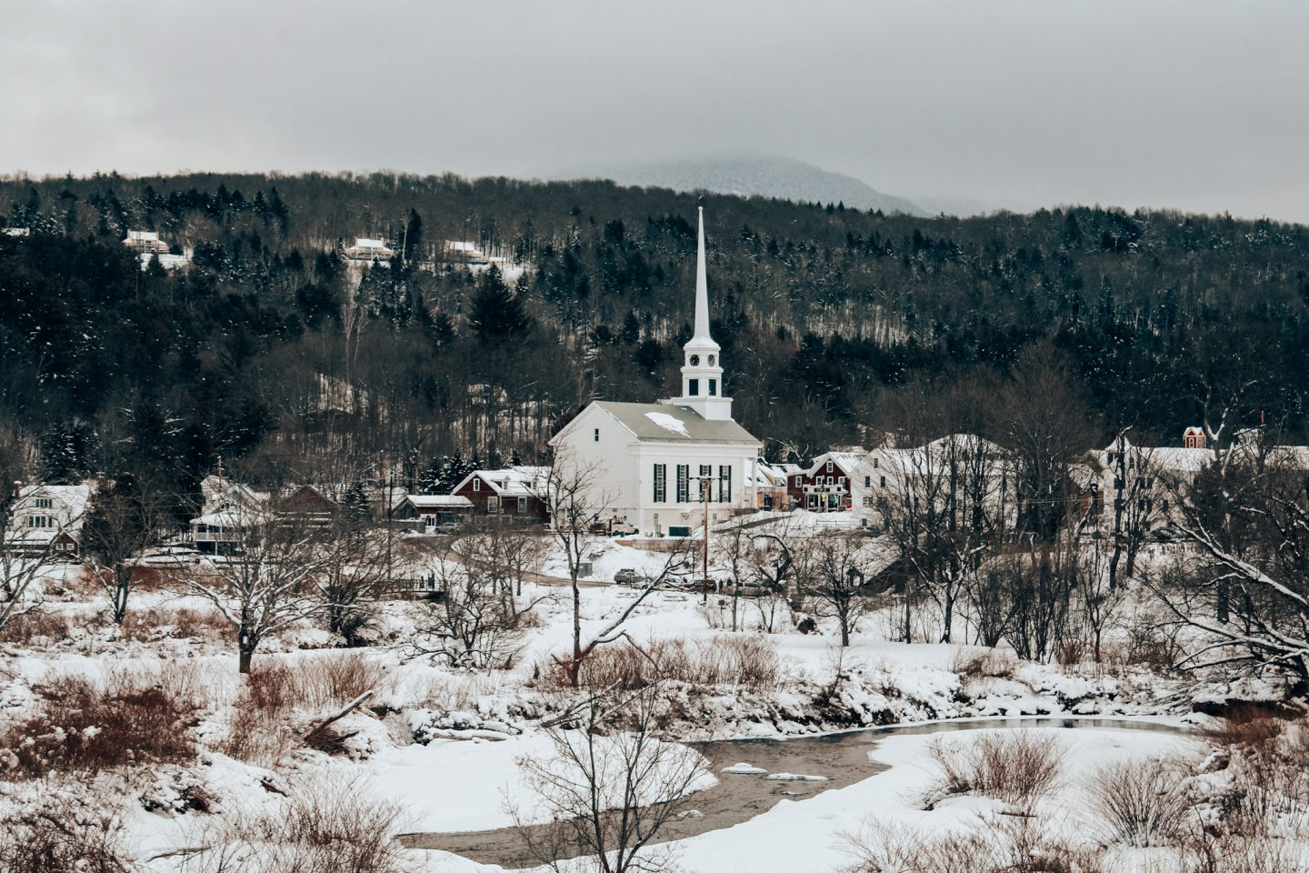 View of Stowe, VT from the Salon Salon parking lot during a winter weekend