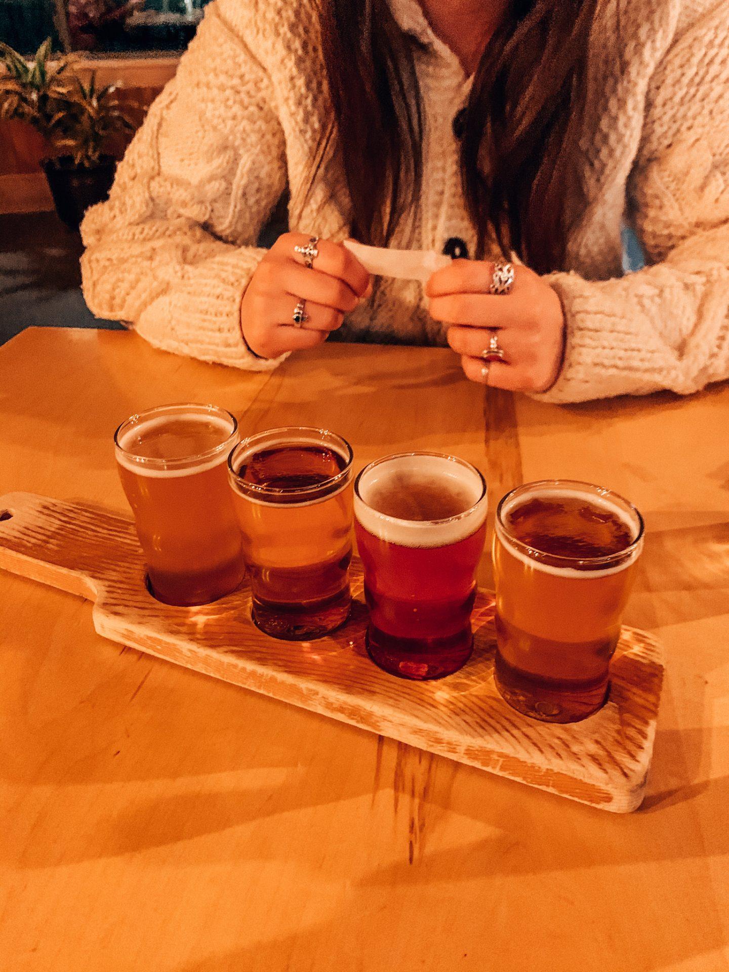 Photo of beer flight at Von Trapp Lodge