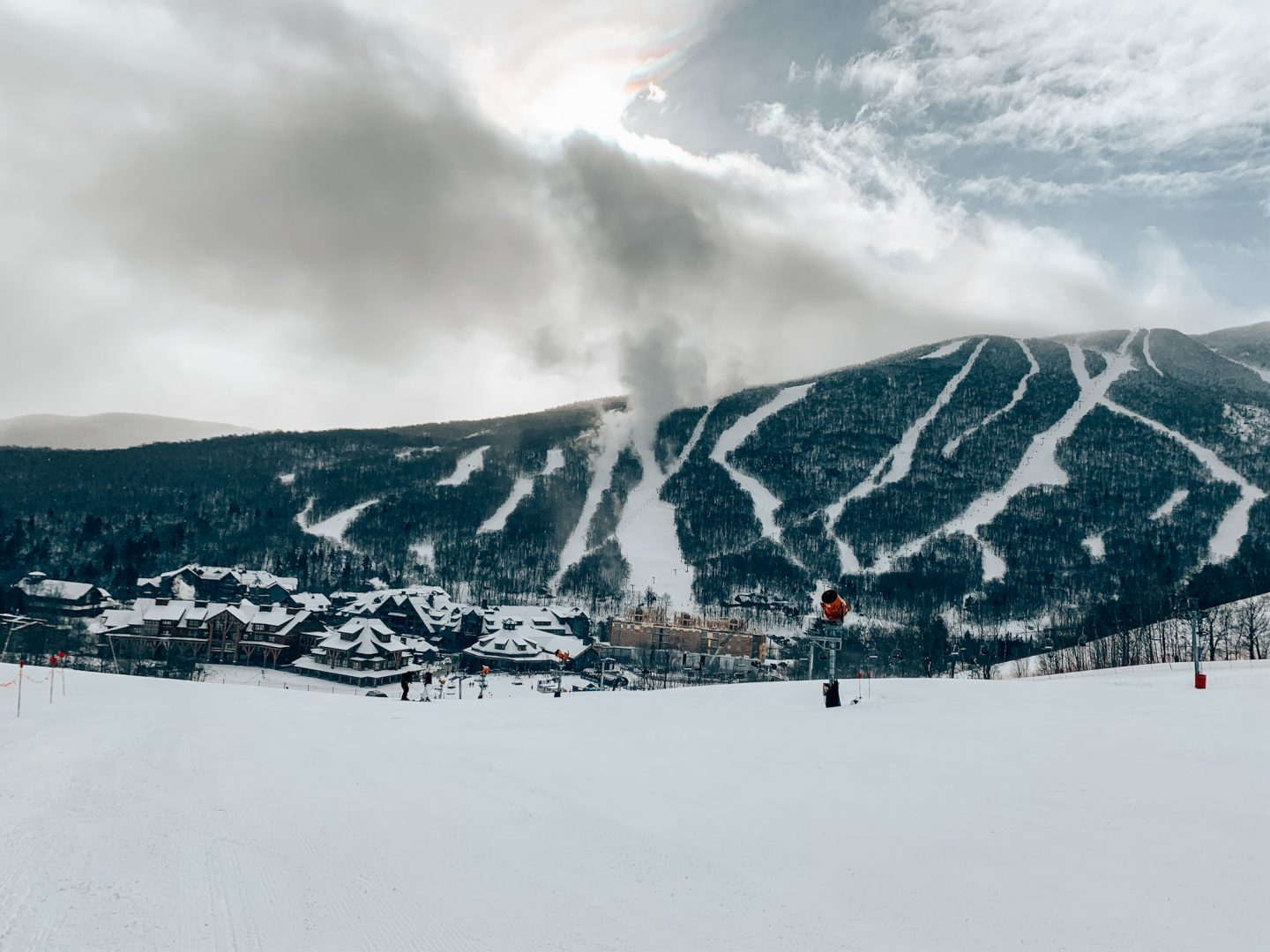 Photo of Stowe Mountain showing all trails