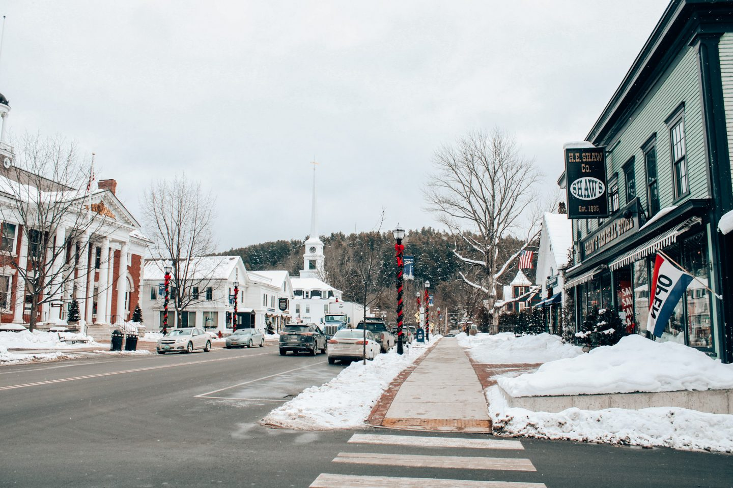 Downtown Stowe, VT in January
