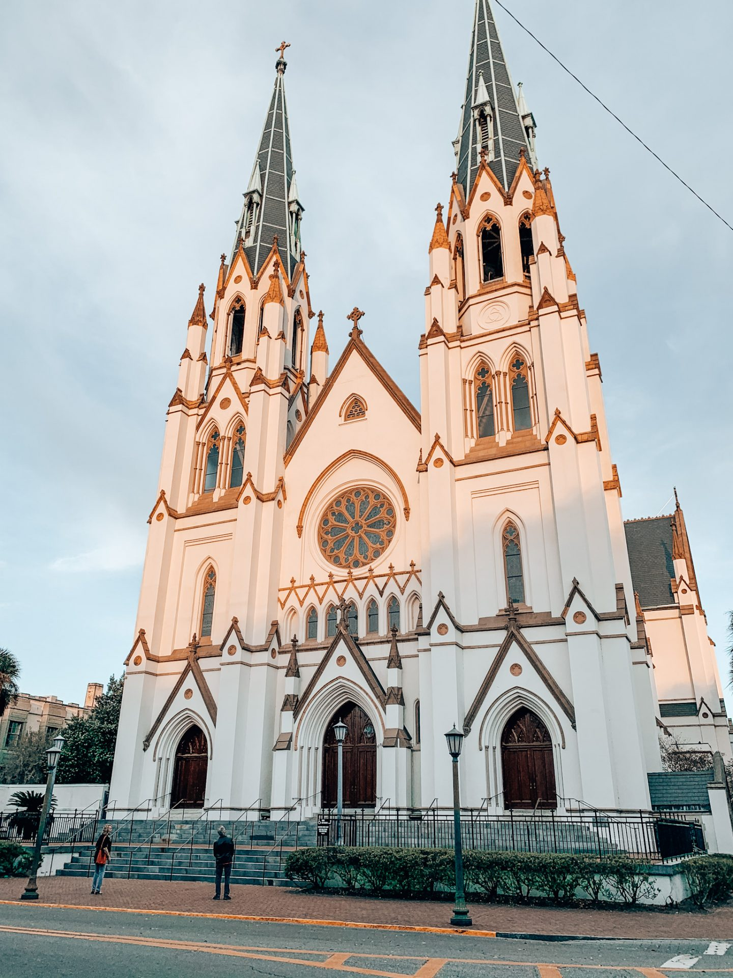 St. John's Church facade at golden hour in Savannah, Georgia