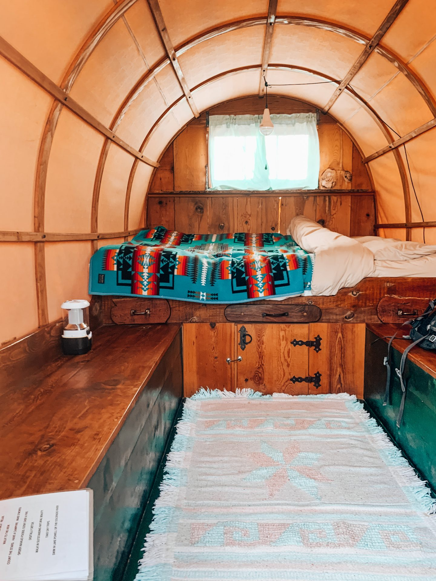 Inside the wagon at the eco-resort