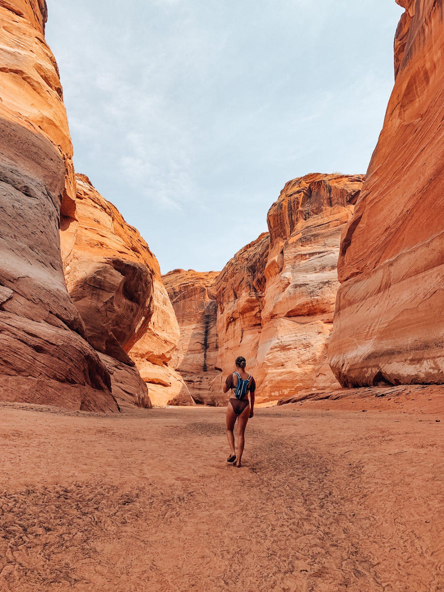 Hiking through Lower Antelope Canyon in Page, AZ