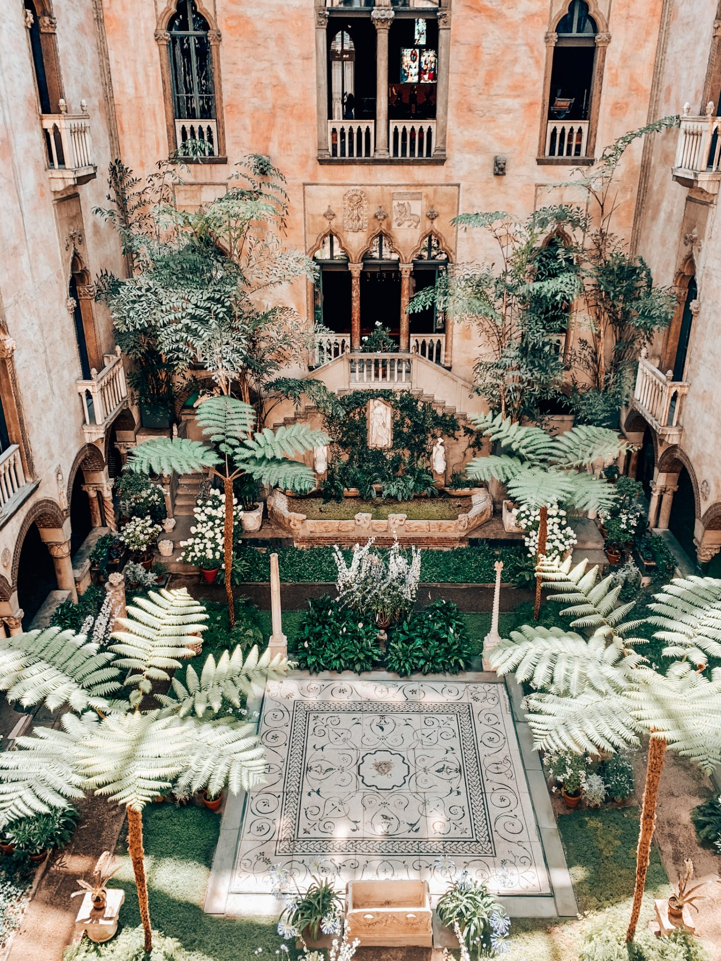 The atrium at the Isabella Stewart Gardner Museum in Boston is one of the most Instagrammable places in Boston