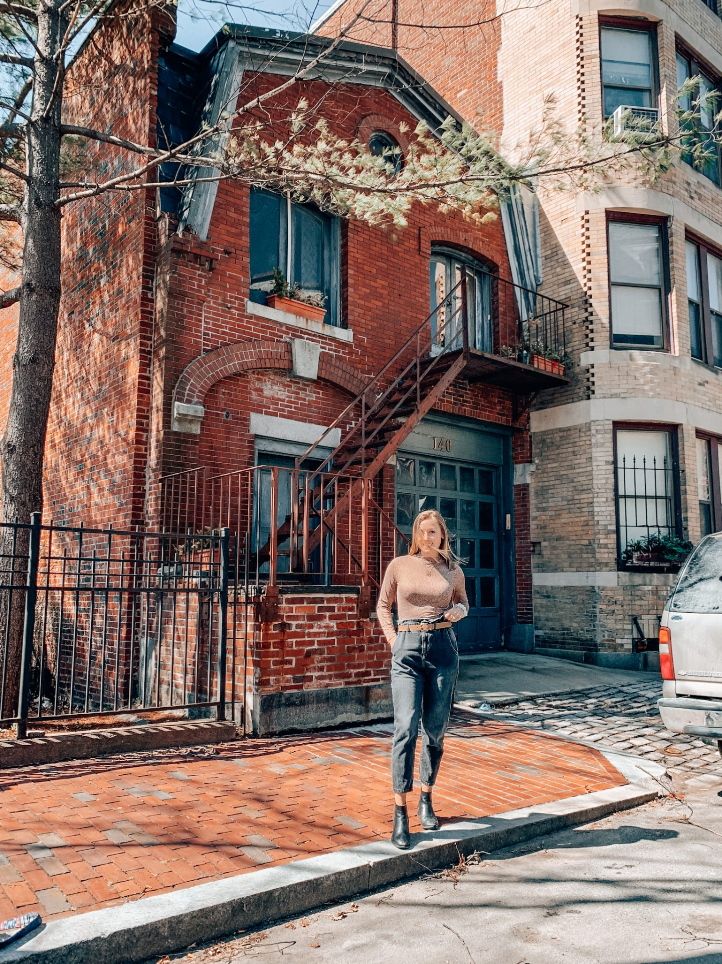 Posing in front of the most Instagrammable house in Boston
